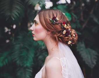 boho hair style rustic flower pin custom made hair pin hair flowers hair flower hair clip marshal burgundy flower flowers floral headpiece