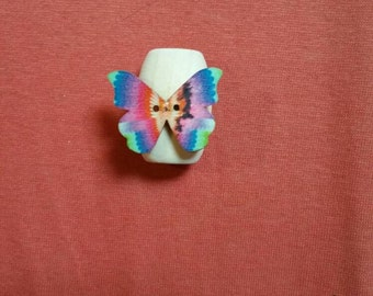 Wooden rainbow butterfly dreadlock bead