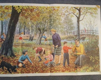 1968 Hubert Williams 'An Autumn Walk' LARGE poster from Child Education