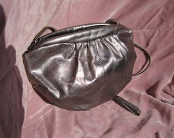 Bill Dorf Bronze Metallic Leather Shoulder Bag, vintage Bill Dorf Evening Bag