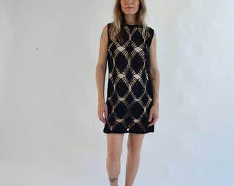 1960's Black Wool Crochet Mini Dress, SM/MED