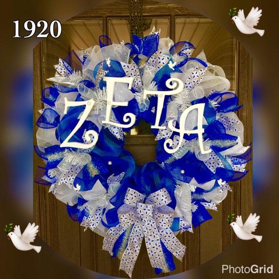 Doorwreathsbytrina Large Greek Wreath Zeta Phi Beta Sorority