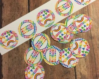 """15 PRECUT 1"""" Love Wins Rainbow Bottle Cap Images"""