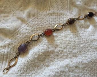 Vintage Egyptian Revival Scarab Bracelet 1/20 12k gf