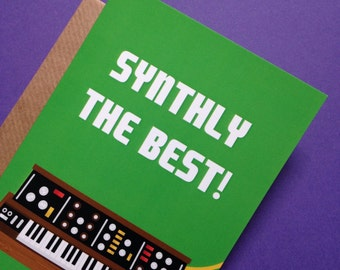 Synth Moog-Style Pun A6 Greetings Card Original Illustration Puns Funny Keys Keyboard Nerd Music Synthesiser Drone Electronic Fun Sythesizer