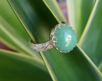 Chinese Jade  and sterling silver ring.