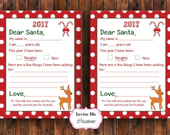 Santa Letter, Letter to Santa, Christmas Wish List, Instant Download, Kids Christmas List, Dear Santa, Holiday Wish List, Holiday Letter
