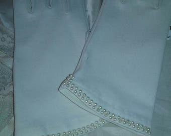 Soft White Gloves Beaded Wrist - Medium to Large