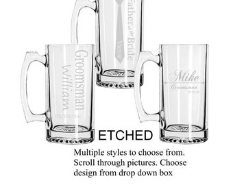 Set of 6 Personalized Groomsmen Beer Mugs, Custom Groomsmen Beer Mugs, Unique Groomsmen Mugs, Beer Mug Glasses