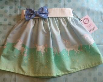 Baby Toddler Girl Mint Gold Unicorn Parade Skirt w/bow belt
