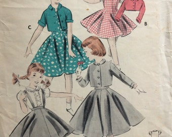 Butterick 8072 girls jumper, skirt w/suspenders, blouse and bolero jacket size 6 vintage 1950's sewing pattern