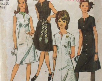 Simplicity 9221 vintage 1970's misses Jiffy dress sewing pattern size 14 bust 36