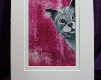 Abstract Gray Cat Print, White Matted Grey Cat Art Print. 11 x 14 Matted pink Cat Art Print, Grey tabby wall art