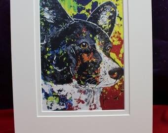 Cardigan Welsh Corgi Print, Black & White Corgi Art, Abstract Corgi Painting, Matted Corgi Painting, Corgi Art For Her, Him, Children