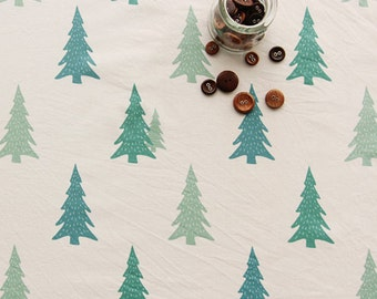 Trees cotton linen fabric Tress fabric Scandinavian Nordic fabric Christmas trees on offwhite fabric Home decor fabric  - 1/2 yard