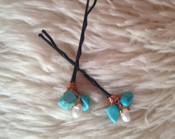 Turquoise and Pearl Wire Wrap Hair Pin