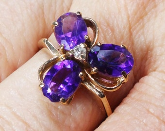 Vintage 14k Gold Amethyst Ring with Diamond Vintage Amethyst Ring Purple Stone February Birthstone Floral Trefoil Clover Ring Size 7.25