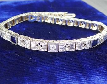Vintage Diamond Sapphire Filigree Bracelet 14k White Gold Antique Filigree Bracelet Gold Diamond Bracelet Sapphire Bracelet Art Deco