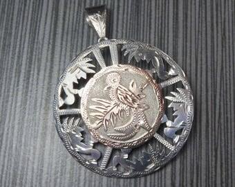 Vintage Silver Bird Pendant Pin Quetzal  Bird Charm 900 Silver Pierced Two Tone Charm Silver Guatemala Bird Charm Large - Free Shipping