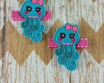 Jellyfish hair clips, jellyfish clippies,girls hair clips, clippies set, hair clips, felt hair clips, jellyfish hair bows, pigtail bows, bow