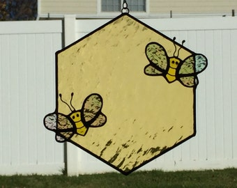 Stained glass honey comb and honey bee suncatcher, stain glass honeycomb, bumble bee, bee, glass bee, honey