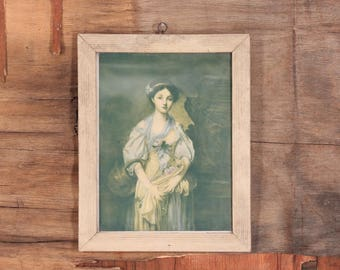 The broken pitcher picture, Pub by National Art Co N. Y., Wooden frame old picture, The broken pitcher by Jean-Baptiste Greuze, Gift idea