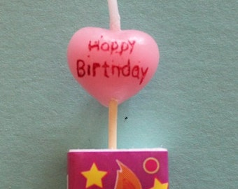 HAPPY BIRTHDAY HEART Candle