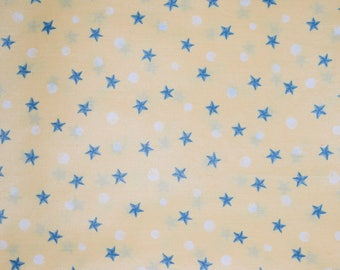 Yellow Fabric with Blue Stars and White Dots, Blue Stars, Star Fabric, Baby Fabric, Quilting Fabric, Quilts