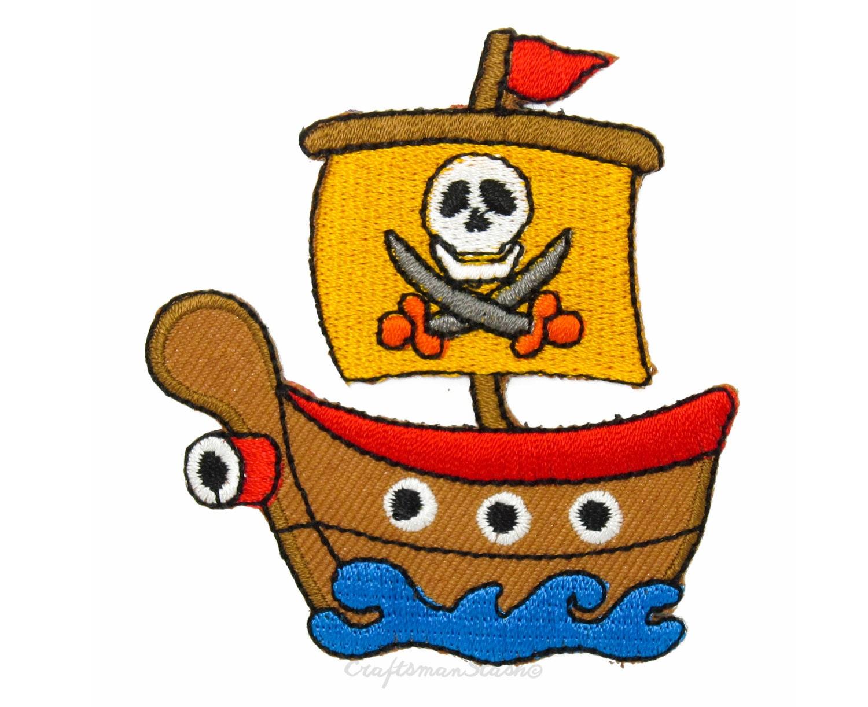 cartoon u0027black pearl u0027 pirate ship easy u0026 fast iron on sew on