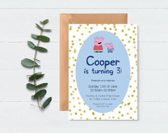 Peppa Pig Invitation - Blue Peppa Pig - Peppa Invite - Peppa Pig Invite - Peppa Pig Party - Peppa Boys Invite - Peppa and George