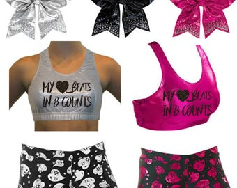 """Custom Cheer Metallic """"Heart Beats in 8 Counts"""" Sports Bra and Shorts Set with Bow"""