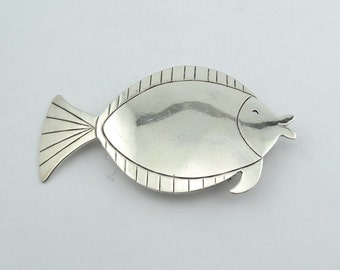 Let's Go Fishing! Large Vintage Sterling Silver Sunfish Brooch/Pendant  #FISH-BR2