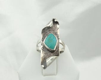 "Vintage ""Scroll"" Native American Turquoise Sterling Silver Ring Size 6 1/4  #SCROLL-SR3"