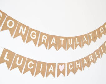 Personalised Congratulations Banner, Custom Congrats Banner, Engagement Party Decoration, Bride and Groom Name Bunting, Wedding Decoration