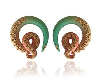 "Ombre Octopus Tentacle Gauges - Earrings For Stretched Lobes - Fake,  0g, 00g, 7/16"", 1/2"", 9/16"", 5/8"" - Octopus Gauges - Gauge"