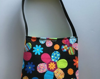 Black with Multi Colored Floral print toddlers/little girls purse