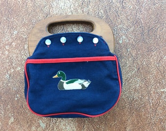 "Bermuda Bag - Embroidered Mallard Duck/ Blue Denim/Red Corduroy  ""Gary Gail original Button Bag""/Reversible Cover, Pocket and Wooden Handle"