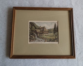 Black Forest Germany Framed Engraving Cottage with Waterwheel Signed Art Schwarzwaldmilch Matted Picture Wall Decor ~ 8251