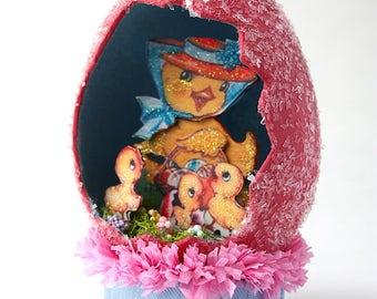 Pink Diorama Easter Glitter Egg