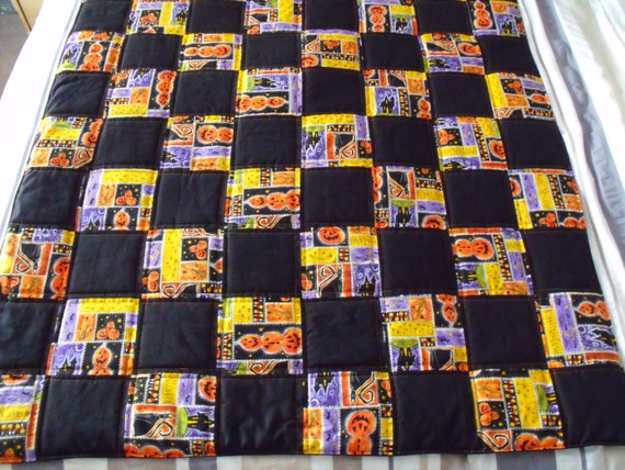 """halloween throw, trick or treat duvet, black and orange quilt, quilted blanket,  45"""" x  51"""""""