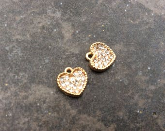 Gold Pave Rhinestone Heart Charms package of two 11 mm  charms Perfect for Adjustable bangle bracelets!