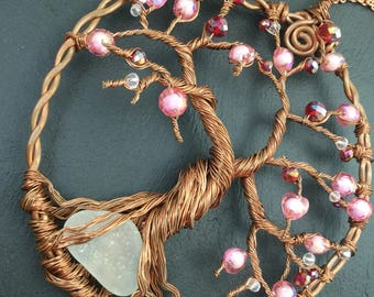 Pink Crystal sun catcher ,wire sun catcher, recycled copper art, whimsical tree, tree of life sculpture, tree windchime,