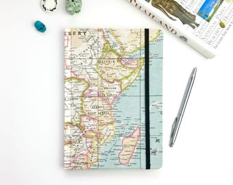 A5 travel journal, map notebook, Africa, hardback workbooks, stationery