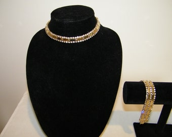 Vintage Rhinestone Goldtone Choker Necklace and Bracelet Set