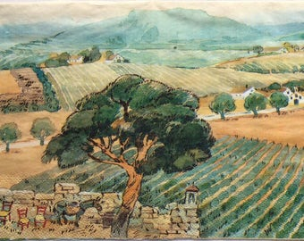 Single(one)napkin  Art Tuscan landscape cream  for decoupage,decoupage under glass ,mixed media,scrapbooking and crafts