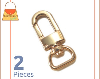 "1/2 Inch Swivel Snap Hooks, Gold Finish, Lobster Claw,  2 Pieces, .5 Inch, 1/2"", Handbag Purse Bag Making Hardware Supplies, SNP-AA024"