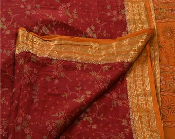 KK Printed Saree Pure Silk Craft Fabric Zari Border Sari