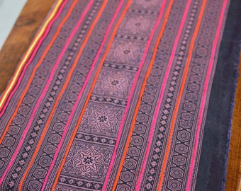 1YD Vintage Hmong textiles embroidered batik fabric cotton handmade table runner#6