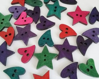 26pcs Star & Heart Buttons - Assorted Wood Buttons - Wooden buttons - Sewing Buttons - Scrapbooking Cardmaking Supplies