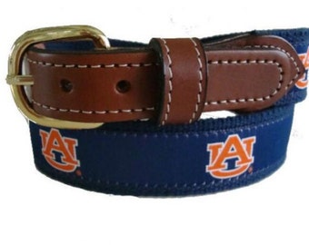 University of Auburn Men's  Web Leather Belt